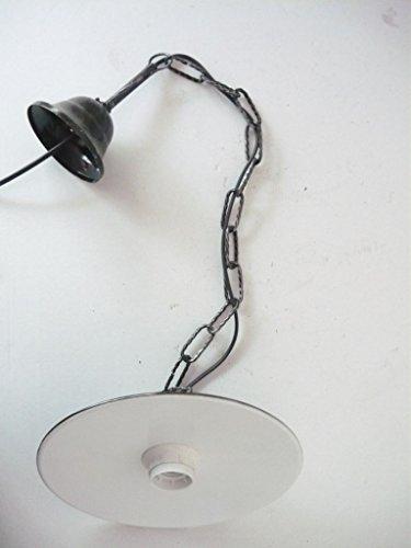Lampada a sospensione in ferro battuto con piatto smaltato catena diametro 30 cm