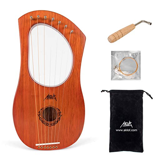AKLOT Lyre Harp, 7 Metal String Bone Saddle Mahogany Lyra Harp with Tuning Wrench and Black Gig Bag