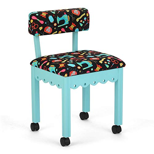 Arrow 7019B Wood Sewing and Craft Chair with Gingerbread Design and Under Seat Storage, Print Upholstery Fabric by Riley Blake, Blue with Black Notions Print Fabric
