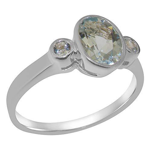 Luxus Damen Ring Solide 9 Karat (375) Weißgold mit Aquamarin - Größe 67 (21.3) - Verfügbare Größen : 47 bis 68