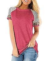 Women's Summer Short Sleeve Top, Leopard Stripe Round Neck Short Sleeve Contrast T-Shirt Rose Red