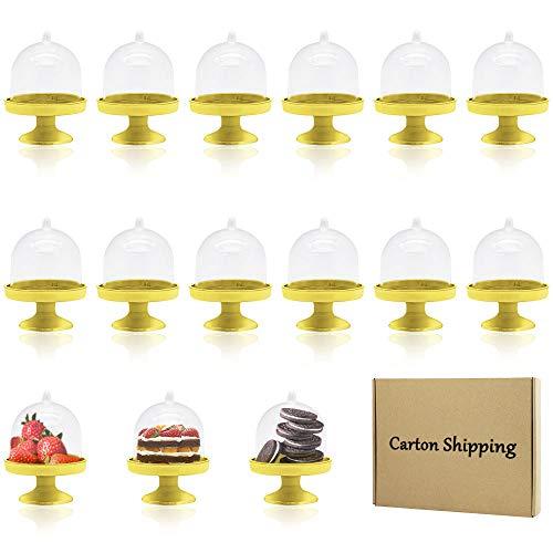 X-BLTU 15pcs Mini Platos de Caramelo Soporte de la Torta Mini Cake Stand Chocolate Cupcake Candy Display Plat con Tapa para cumpleaños Suministros para Fiesta de Bodas - 8 x 6 x 6cm (Base Dorada)