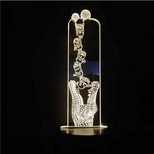 Kinder Tischlampe LED 3D Licht Nacht für Kid Minions und Krokodil LED Nachtlicht für zu Hause Schlafzimmer Weihnachten Geschenk Illusion Weihnachten
