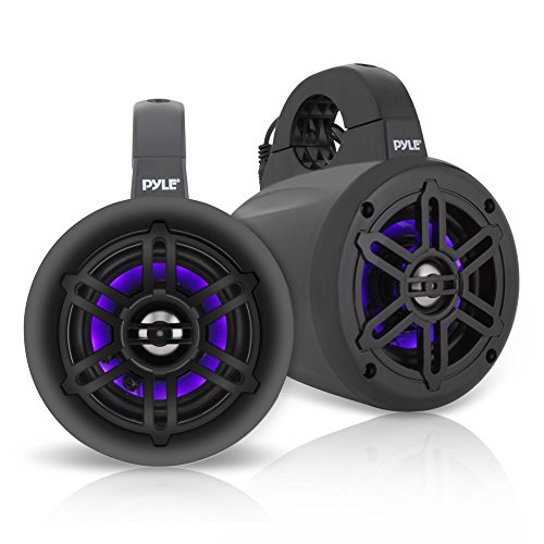 Waterproof Marine Wakeboard Tower Speakers - 4 Inch Dual Subwoofer Speaker Set w/ 300 Max Power Output - Boat Audio System w/Built-in LED Lights - Mounting Clamps Included - Pyle PLMRLEWB46B (Black)
