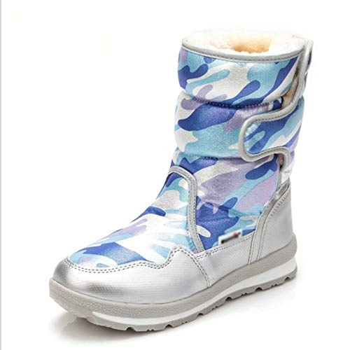 Botas de Nieve for Niños, Niñas Y Niños de Invierno A Prueba de Agua, Zapatos Cálidos Al Aire Libre, Más Terciopelo Acolchado for Padres Y Niños Zapatos de Algodón. ( Color : F , Size : 35 )