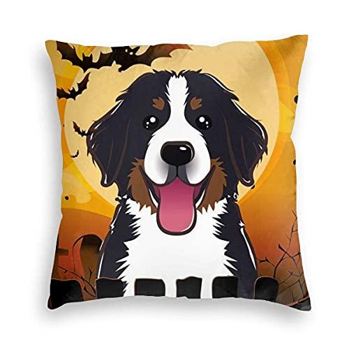 Lewiuzr Bernese Mountain Dogs Halloween Bat Happy Square Throw Pillow Fundas Decoraciones Funda de cojín 22X22 Pulgada