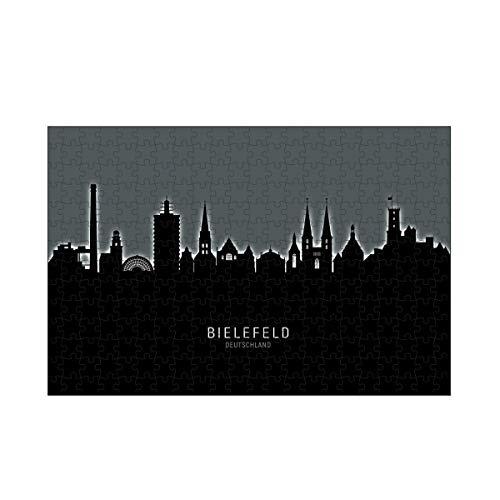 artboxONE-Puzzle M (266 Teile) Städte Bielefeld Skyline Glow White - Puzzle Bielefeld blackandwhite City