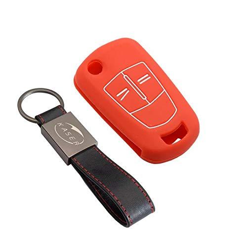 kaser Housse étui en Silicone pour Clé Opel – Coque Cover Porte-Clés 2/3 Boutons pour Vectra Astra Tigra Corsa Zafira Protection Télécommande Voiture (Rouge)