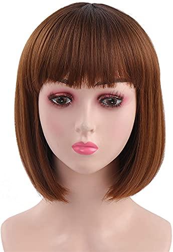 L&B-MR Pelucas de pelo corto Bob para mujeres, pelucas marrn con flequillo peluca sinttica recta natural como pelo real 30,5 cm