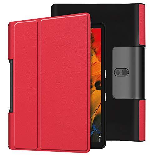 Lobwerk - Funda para Lenovo Yoga Smart Tab YT-X705F de 10,1 pulgadas, con función atril y función de encendido y apagado automático rojo rojo