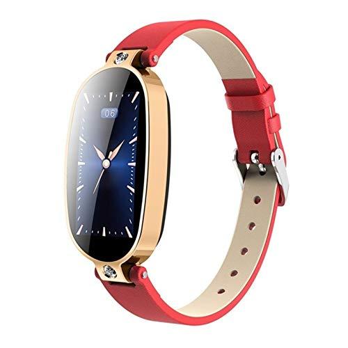 XXY Pulsera Inteligente Player Fitness PPG ECG Presión Arterial RECORDATORIO RECORDATORIO Color Pantalla DE Color Salud Reloj DE Bluetooth IMPERMERTIL (Color : Red Gold)