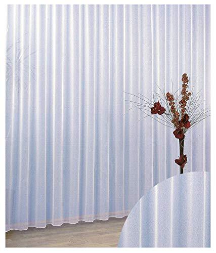 Heimtexland 96 - Tenda semitrasparente con arricciatura e motivo ondulato, 100% poliestere, trasparente, Altezza/base: 150 x 300 cm