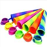 Taloit, stampo per ghiaccioli, con coperchio, set di 6 pezzi in silicone colorato per ghiaccio fai da te, morbido e sottile, per la casa e la cucina