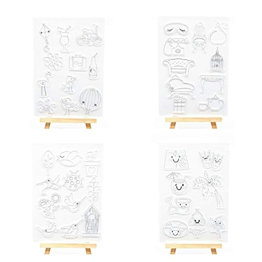 Welcome to Joyful Home 4pcs/Set Relax Eye Mask Bird Swimwear Summer Rubber Clear Stamp for Card Making Decoration and Scrapbooking