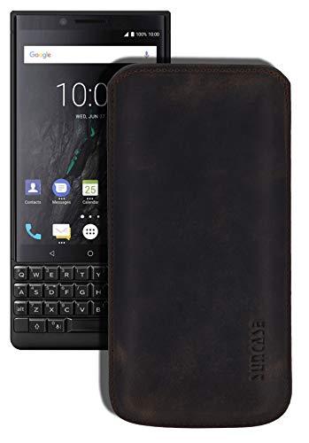 Suncase Original Leder Etui kompatibel mit BlackBerry Key2 Hülle Tasche Ultra Slim Ledertasche Schutzhülle Hülle (mit Rückzuglasche) in antik-braun