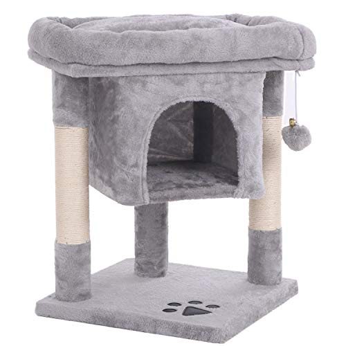 BEWISHOME Cat Tree Cat House Cat Condo with Sisal Scratching Posts, Plush Perch, Cat Tower Furniture...