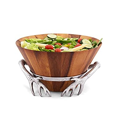 Arthur Court 7  Tall Acacia Wood Salad Bowl with Antler Pattern Aluminum Stand