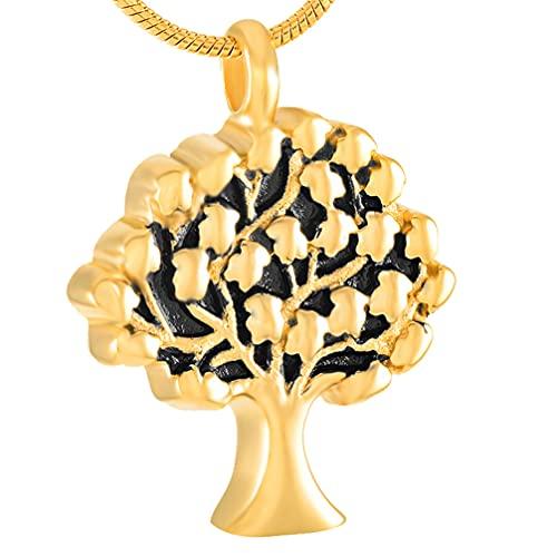 Collar de Urna Life of Tree para Mujer Colgante Conmemorativo de Cremación de Acero Inoxidable Joyería con Grabado Cenizas Funerarias Humanas/para Mascotas