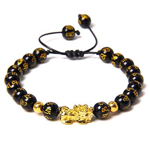 Stone Bracelet Bangles Wristlet,Feng Shui Obsidian Beads Bracelet Handmade Pixiu Wealth Bracelets Charm Buddha Good Luck Jewelry Bangles for Man Women Girls Yoga Stretch Bracelets,Black Onyx