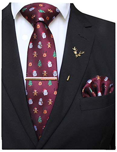 JEMYGINS Festival Silk Necktie Burgundy Santa Claus Snowman Christmas Tie and Pocket Square with Tie Clip and lapel pin Set(2)