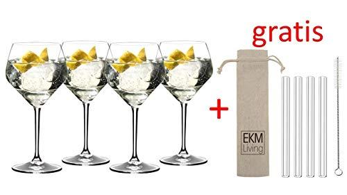 RIEDEL Gin Tonic Vorteilsset 5441/97 + Gratis 4er Set EKM Living Glas Trinkhalm