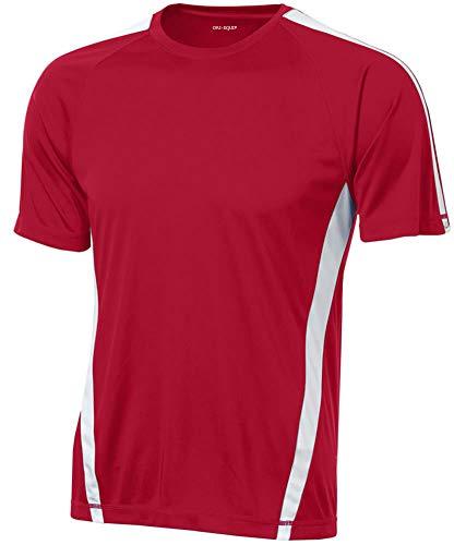 Joe's USA Men's Short Sleeve Moisture Wicking Athletic T-Shirt-Red/White-2XL