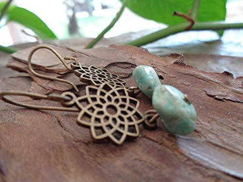 Mandala de la estrella EN BRONCE Y PIEDRAS azul hielo pendientes, hechos a mano en bronce