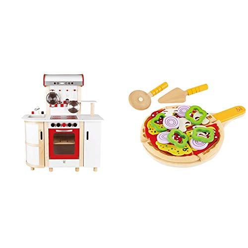 Hape E8018 - Küchentraum, Kinderküche inklusive Zubehör (Topf, Pfanne, Pfannenwender und Schöpflöffel), Spielküche aus Holz & E3129 - Pizza-Set, Zubehör für Kinderküche und Kaufladen