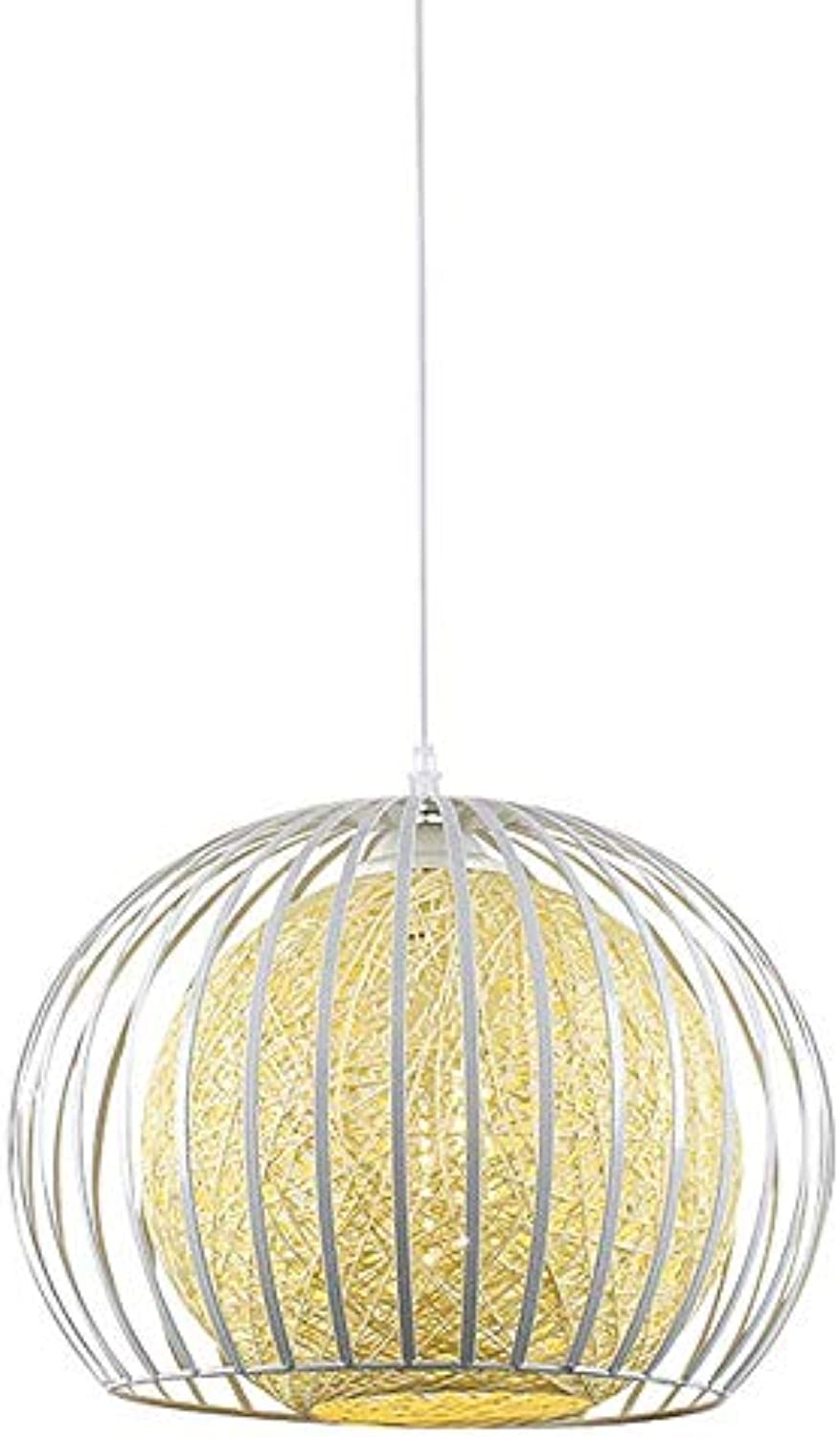 Pendant light,Restaurant Ceiling Light single-Head Modern Simple Weaving Chandelier Iron Decorative,diameter28cm,Weiß