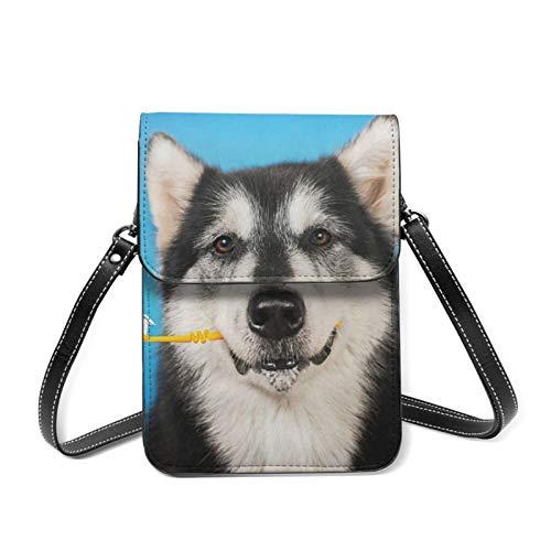 Mini sac à bandoulière pour téléphone portable - Avocat verdure - Blocage RFID - Avec sangle réglable - Noir - Un chien avec une brosse à dents., Taille unique