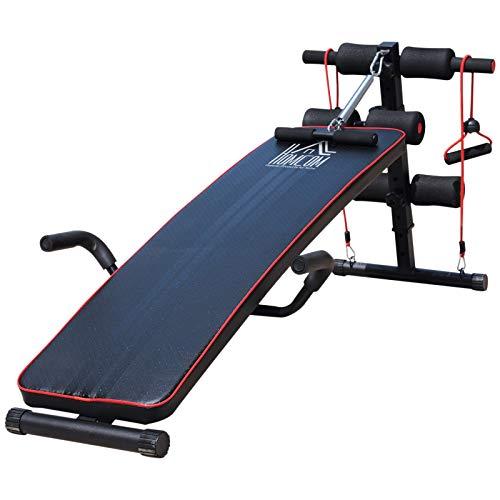 HOMCOM Sit Up Bank Bauchtrainer Trainingsbank Fitnessbank verstellbar gepolstert inkl. Widerstandsbänder Stahl + PVC Schwarz + Rot 56,5 x 135 x (50–68) cm 120 kg Belastbarkeit