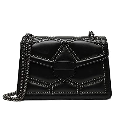 Rivets Chain Small Shoulder Crossbody Messenger Bags for Women Purse and Handbags (Black)