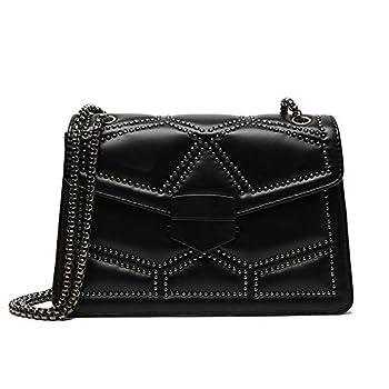 TAGDOT Rivets Chain Small Shoulder Crossbody Messenger Bags for Women Purse and Handbags  Black  Medium
