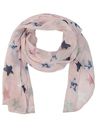 Zwillingsherz Seiden-Tuch Damen Stern Muster - Made in Italy - Eleganter Sommer-Schal für Frauen - Hochwertiges Seidentuch/Seidenschal - Halstuch und Chiffon-Stola Dezent Stilvolles Design rosa