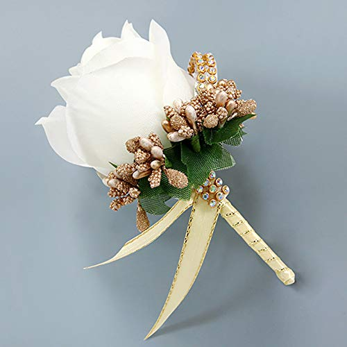 RONSHIN TOP Simuleer Silk Rose met Berry Wedding Corsage voor Bruidegom Bruid Huwelijk Broche Pin