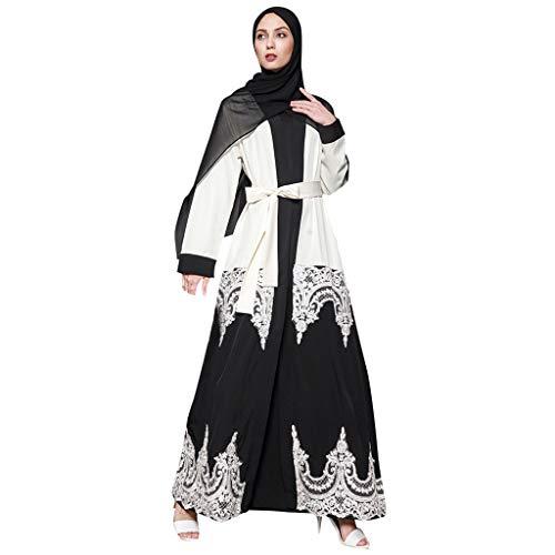 ZEELIY Damen Muslimische Stickerei Langarm Kleid Tunika Abaya Dubai Kleider Maxikleid Abendkleid Muslim Frauen Knöchellang Kleid Hochzeit Kaftan Robe Gewand Islamische Kleidung