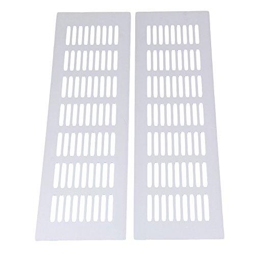 Rejilla de Ventilación de Ventilador de Ventilación de Ventilador de Aire de Aluminio, Plata, 80x300mm, Paquete de 2