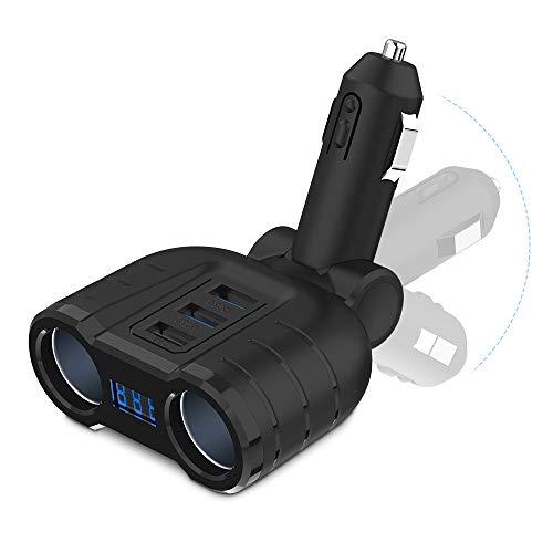 Quick Charge 3.0 Car Charger Splitter Adapter, Rocketek 2 Sockets Cigarette Lighter Splitter 120W 12V/24V DC Outlet with LED Voltage Display Three USB Port for Smartphone Tablet GPS Dash Cam Tomtom