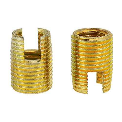 50 piezas de latón tono autorroscantes insertos estriados juego de combinación herramienta de reparación de rosca.