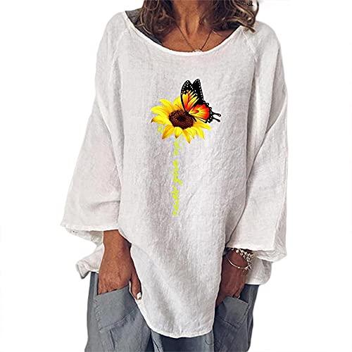 Fishoney - Camiseta para mujer, cuello redondo, manga larga, estampada, diseño de girasol, para verano, estilo casual, elegante, simple, blanco, M