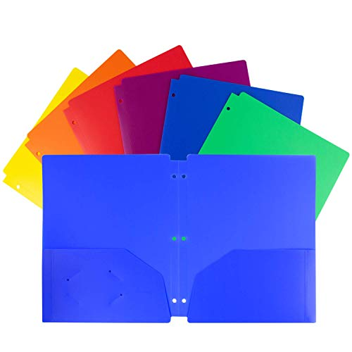 Dunwell Colored Folders for School - (6-Pack, Assorted Colors) 3 Hole Punch Plastic Folders with Pockets Fit 3 Ring Binder, Letter Sized 2-Pocket Folder with 3 Holes, School Folders for Boys, Girls