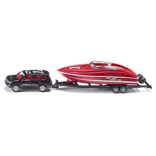 SIKU 2543, PKW mit Motorboot, 1:55, Metall/Kunststoff, Schwarz/Rot, Schwimmfähiges Spielzeugboot