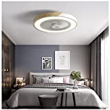 LAITONG Ceiling Fan with LED Light Remote Control, 20'' Modern Invisible Fan Round Recessed Ceiling Fan Light,Seven Color Dimmable 36W 110V 3 Speed Timer Hidden Electric Fan,for Kids Room Kitchen,Wh