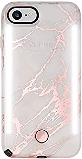 LuMee Duo Phone Case, Metallic Rose Marble | Front & Back LED Lighting, Variable Dimmer | Shock Absorption, Bumper Case, Selfie Phone Case | iPhone 8 / iPhone 7 / iPhone 6s / iPhone 6