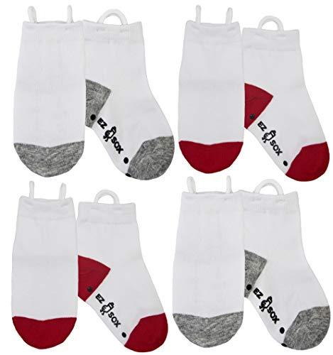 Ez Sox Calcetines de chico con puntera sin costura y sin deslizamiento, tira hacia arriba (3-5 años, White)