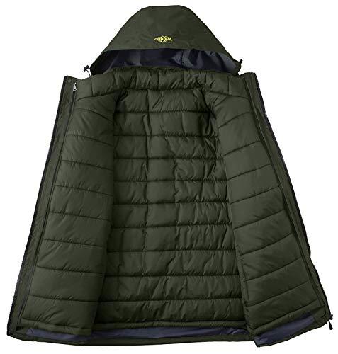 Wantdo Men's 3-in-1 Ski Jacket Softshell Snowboarding Coats 3-1 Raincoat Army Green L