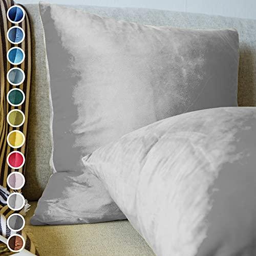 Lionmood  Juego de 2 fundas de cojín   terciopelo de un solo color   45 x 45 cm   funda de cojín decorativa para sofá (11 gris claro)