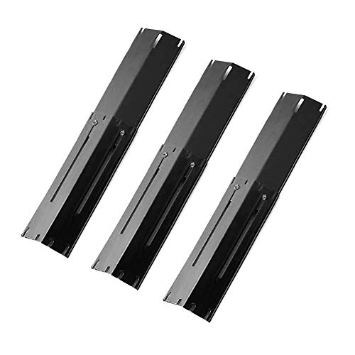 """Outspark Universal Replacement Heavy Duty Adjustable Porcelain Steel Heat Plate Shield Heat Tent Flavorizer Bar Burner Cover Flame Tamer for Gas Grill Extends from 11.75"""" up to 21"""" L (5-Pack)"""