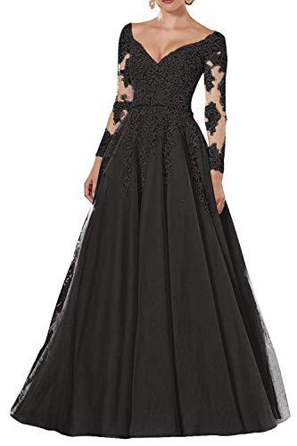 Vintage Abendkleider Lang Spitzen Ballkleider Brautmutterkleider A-Linie Hochzeitskleid Langarm Maxikleider Schwarz 58