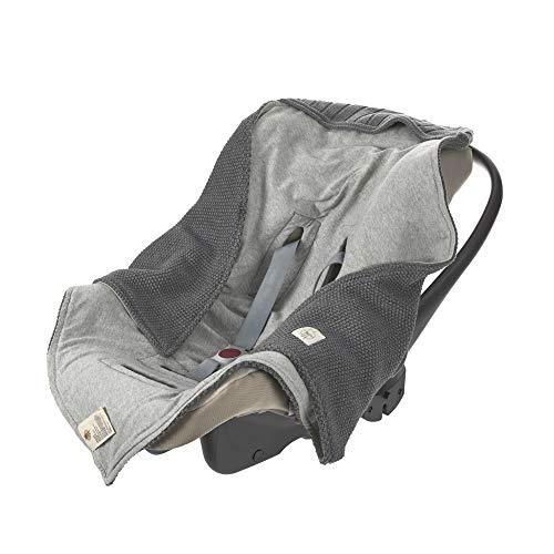 LÄSSIG Baby Strickdecke für Autositz Autositzdecke Einschlagdecke Babyschale 100% Bio-Baumwolle GOTS anthracite